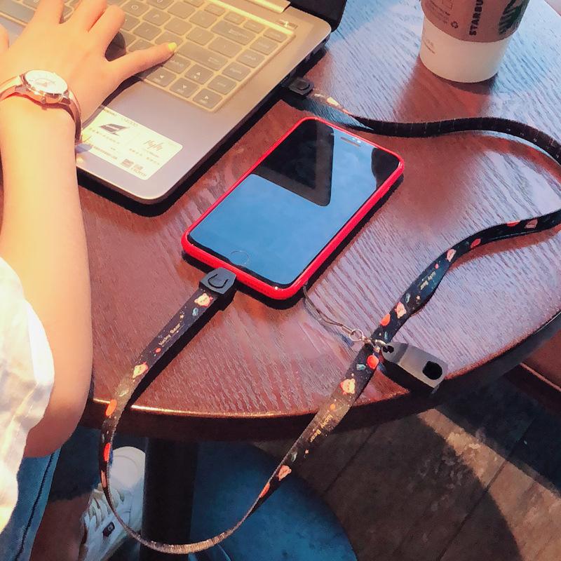 抖音神器手机挂绳数据线个性创意工作牌证胸卡套长短链吊绳手机挂脖子苹果6s华为iphoneX8多功能宽潮男女款