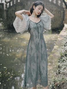 裙子仙女超仙森系蕾絲拼接連衣裙小個子輕熟風智燻裙法式桔梗裙女