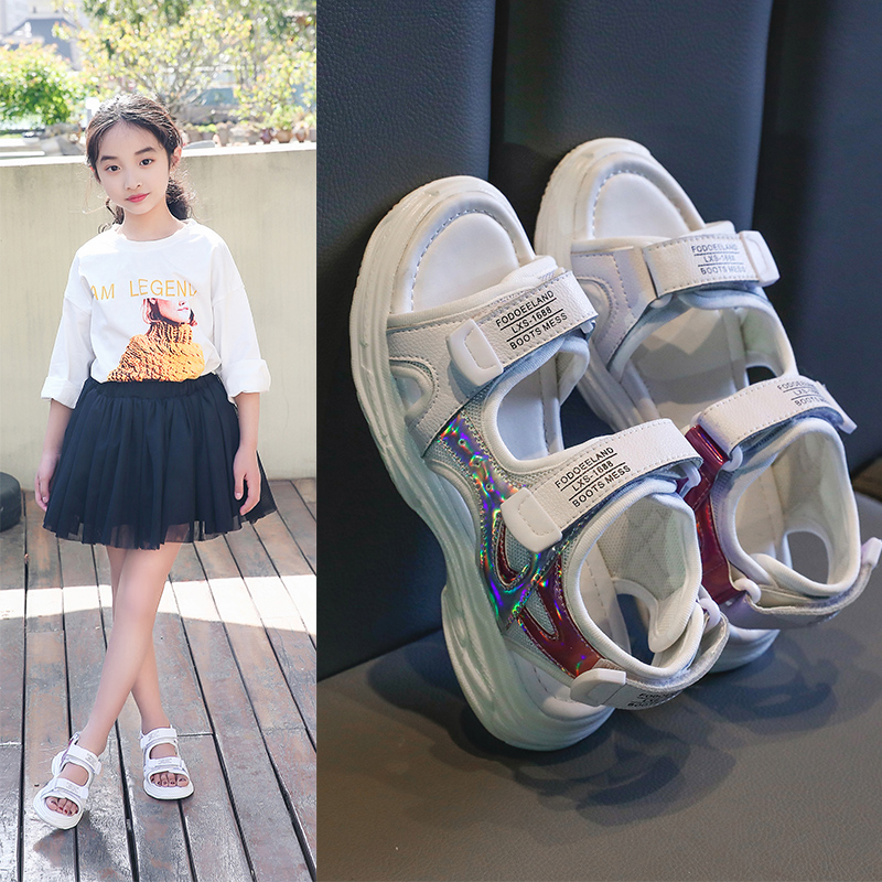 Girls sandals 2021 summer new net red childrens soft bottom sandals middle school childrens beach shoes primary school students princess shoes