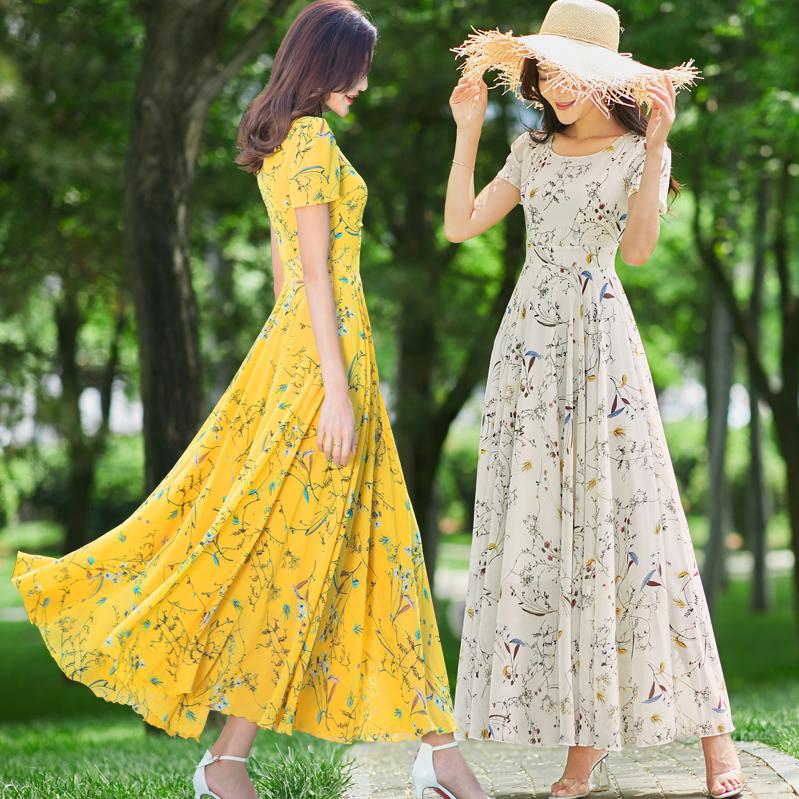 满960.00元可用722元优惠券2019新款夏季长款雪纺修身黄色连衣裙碎花女显瘦超仙印花度假长裙