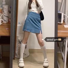 俏皮小姐韩版学生可盐可甜两件套针织开衫外套开叉包臀半身裙套装