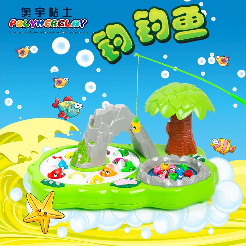 兒童釣魚玩具電動小貓雙層磁性旋轉釣魚套裝 1~2~3歲寶寶益智玩具