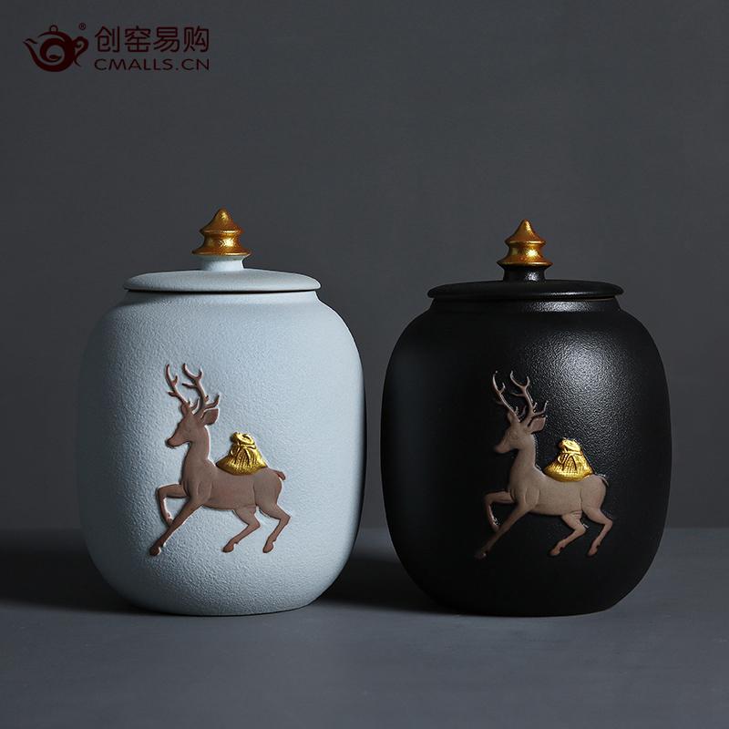 创窑 一袋一鹿陶瓷茶叶罐
