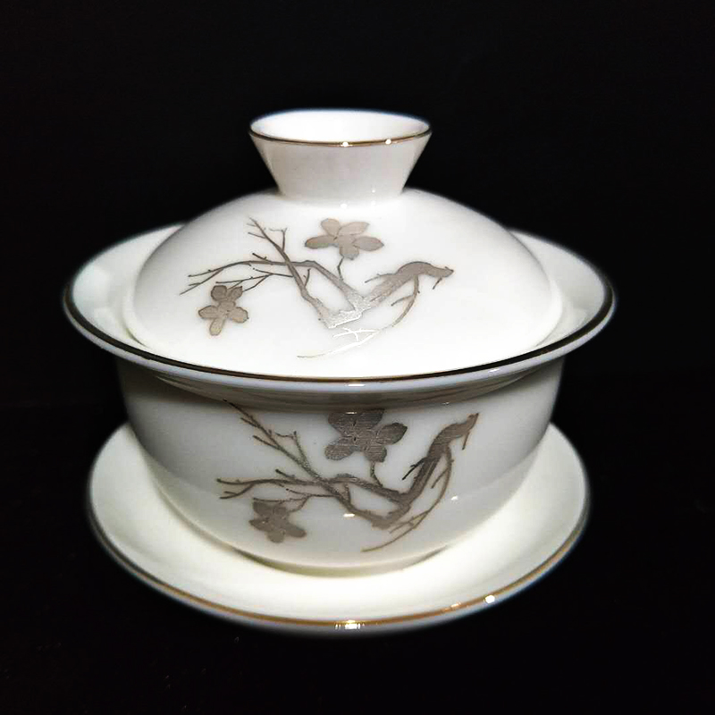 創窯金邊楓葉玉瓷功夫茶具 蓋碗杯 白瓷三