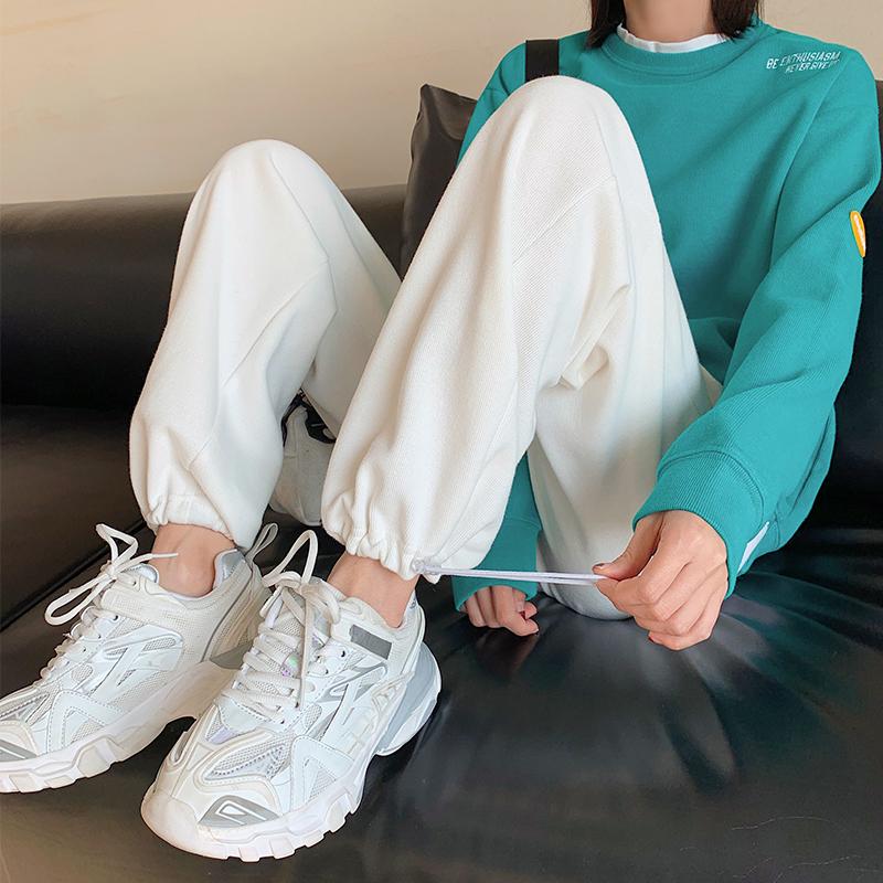 白色运动裤女宽松束脚高腰春秋垂感宽松显瘦休闲长裤子直筒阔腿裤