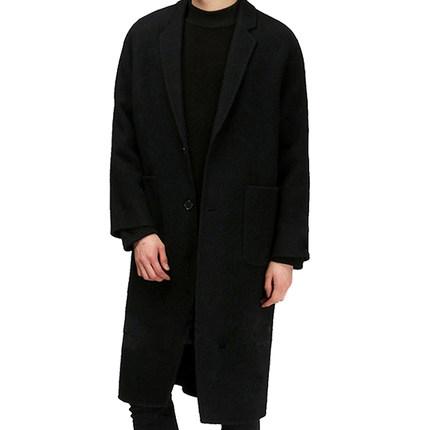 男中长款宽松青年呢子简约毛呢大衣