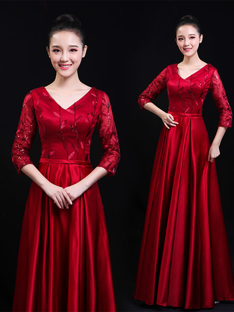 Cantha Choir Performance Costume Women's Long Skirt Autumn New Chinese Style Solo Stage Conductor Costume