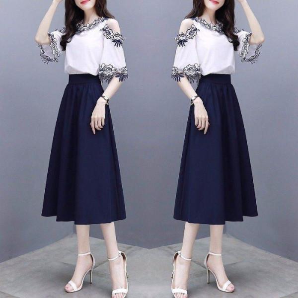 2020 new womens summer temperament gentle super fairy two piece set waist long skirt shoulder leakage dress A-line suit skirt