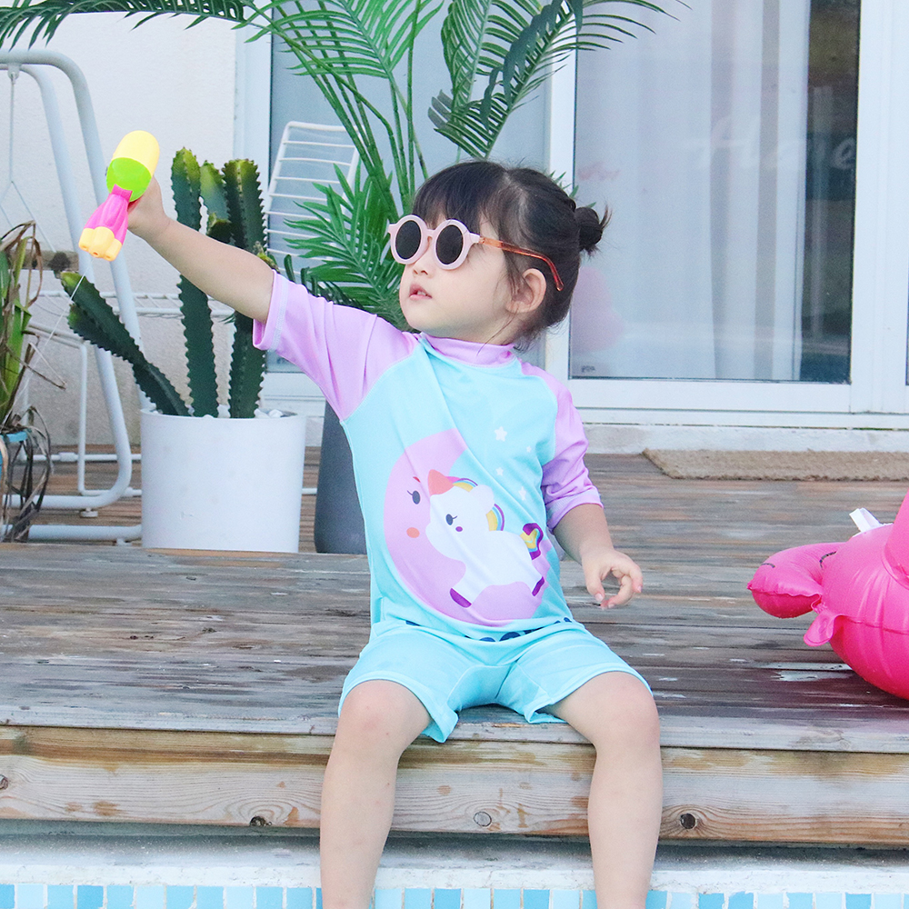 Ins childrens swimsuit girl little princess girl one piece baby baby girl sun proof swimming suit lovely one-piece swimming