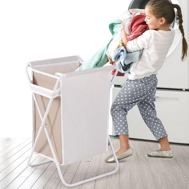 脏衣篮 升级版钢制架构牛津布X型双格衣物分层收纳篮洗衣篮