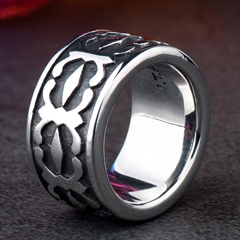 十字花潮流戒指男生韩版钛钢潮人个性创意霸气单身学生指环扳指