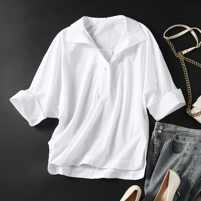 衬衫 不过时 珍珠扣翻领 白色纯棉遮肉蝙蝠袖 怎么穿都好看 经典