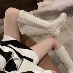 秋冬季不过膝女高靴网红白色显瘦绑带中筒马丁靴厚底平跟骑士长靴