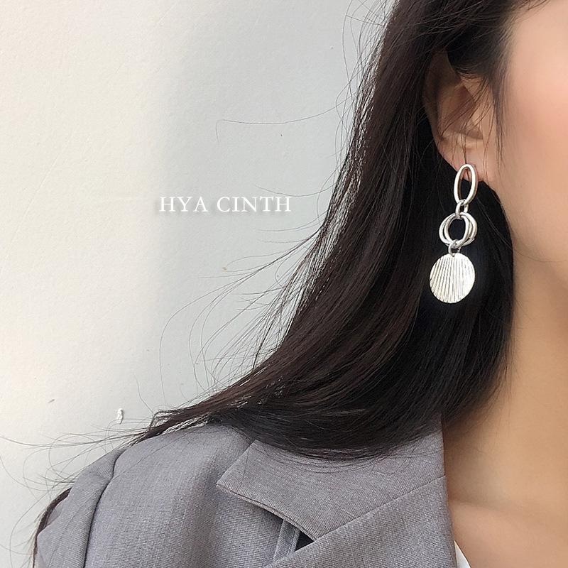 中國代購|中國批發-ibuy99|耳钉|韩国设计做旧复古沙金耳环简约长款冷淡风金属圆片耳坠耳钉饰品