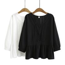 2020秋季韩版新款大码女士休闲上衣胖MM小清新方领收腰长袖衬衫