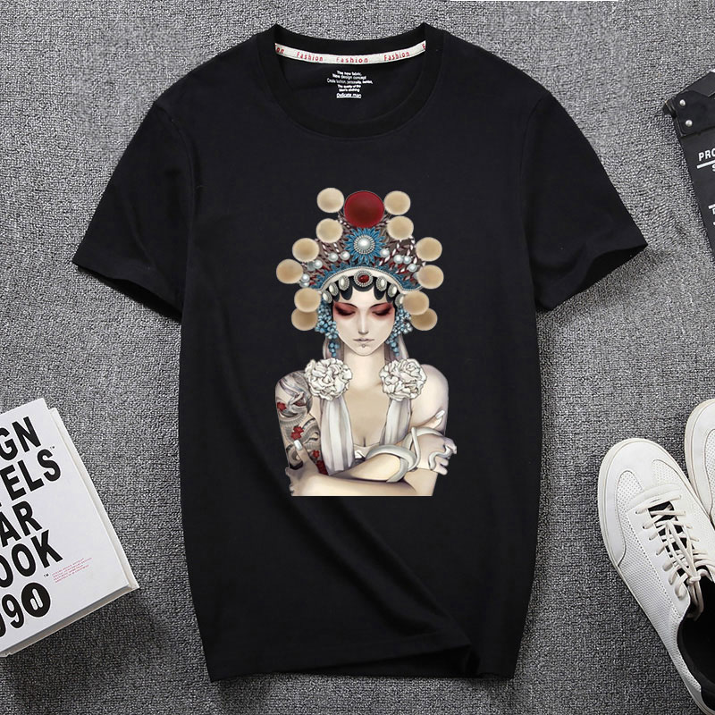 Chinese style opera cotton short sleeve T-shirt lovers wear mens and womens 2021 summer students Beijing opera facial makeup top package