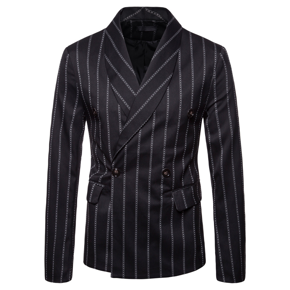 British New Double Breasted striped suit hairdressers coat mens large casual green fruit collar suit performance suit