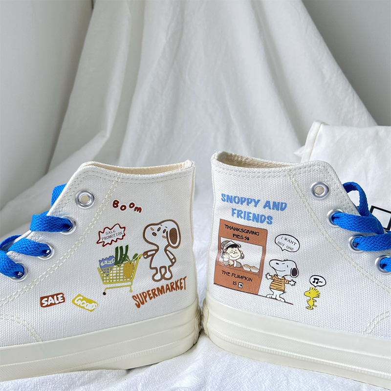 Scoobys hand painted lovely canvas shoes womens versatile ulzzang2020 new high top board shoes student fashion shoes ins