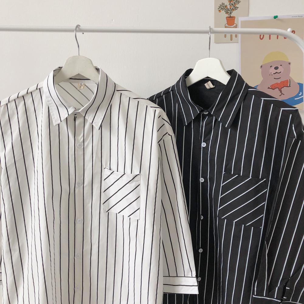 2020春季 条纹七分袖衬衫A009-C442-P40  成分100%棉