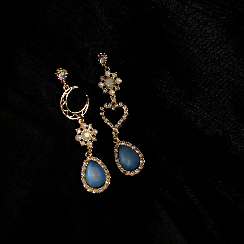 「海妮娅」 海之女神 复古温柔闪耀不对称水钻月亮海蓝色耳环耳夹
