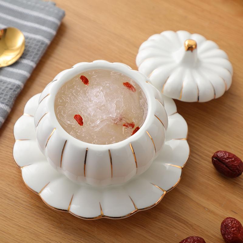 欧式创意陶瓷燕窝炖盅带盖隔水炖盅家用糖水甜品碗蒸盅汤盅炖罐