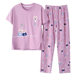 純棉睡衣女夏套裝 短袖 韓版清新學生春秋冬季可外穿薄款家居服新