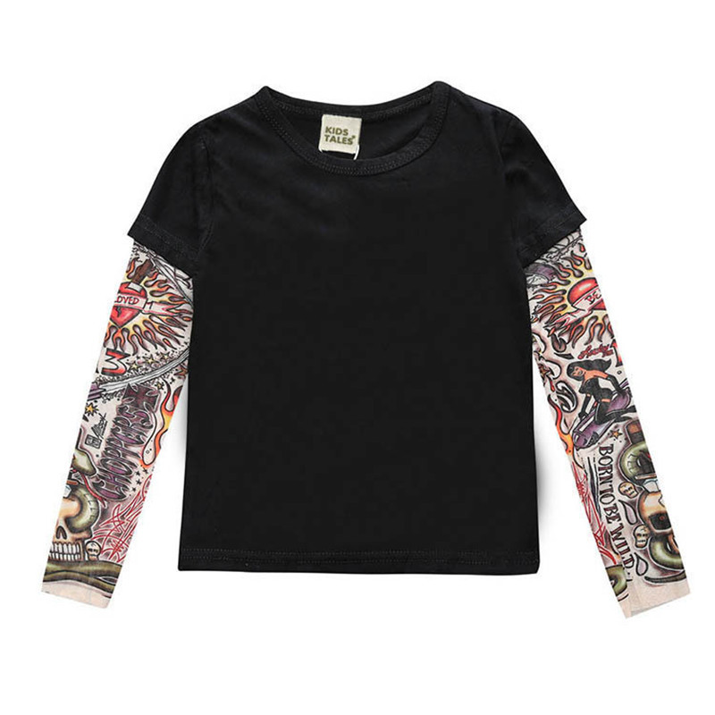 Spring fake two-piece flower arm tattoo T-shirt 2021 long sleeve ins childrens top bottom new baby girls wear Y2