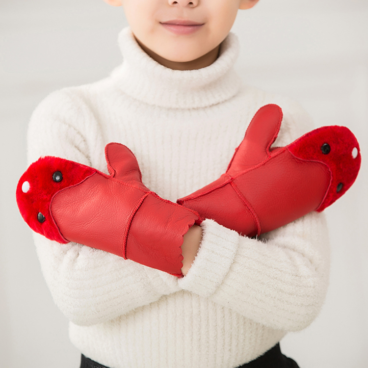 Childrens mittens cartoon gloves genuine sheepskin wool fur integrated gloves mens and womens gloves warm and thick