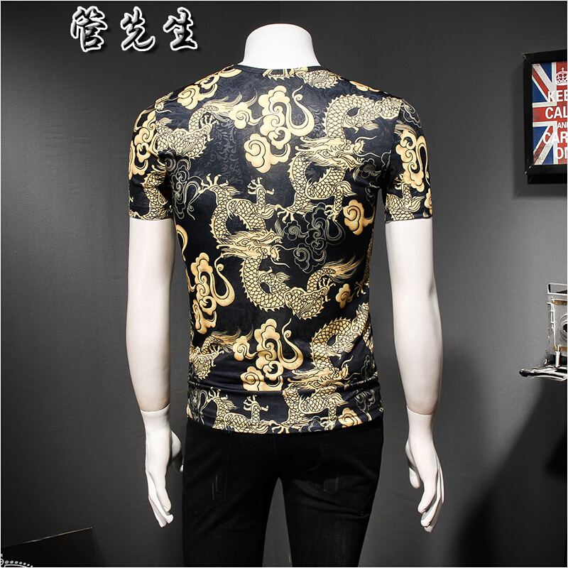 Flash triad domineering tattoo dragon pattern short sleeve t-shirt mens large size personality fashion ice silk printing hollowed out
