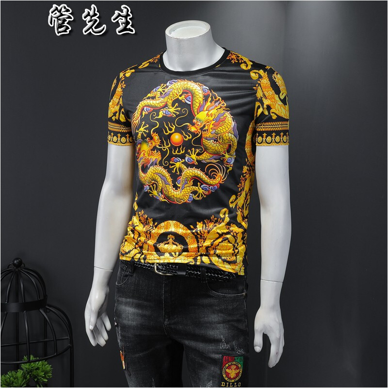 Short sleeve T-shirt with dragon pattern in Chinese underworld mens round neck tight and elastic ice silk cut out for ventilation