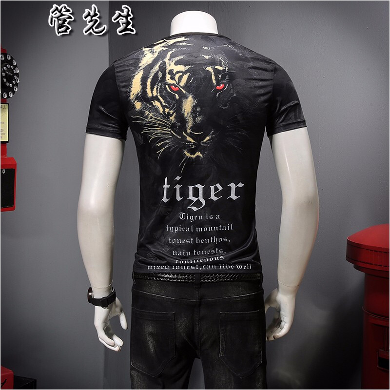 Europe and the United States 3D printing ice silk short sleeve t-shirt men 2020 new mens summer top domineering underworld half sleeve