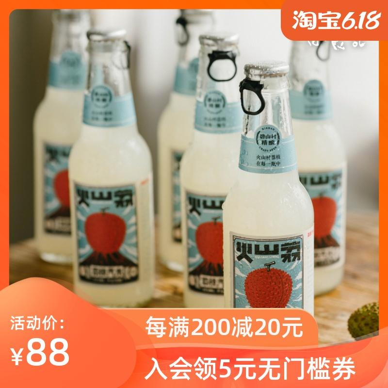 日食记火山村荔荔枝汽水6瓶网红果味起泡碳酸饮料易拉环气泡果汁