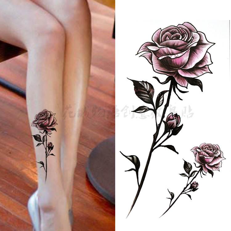 新款韩国手绘唯美彩色玫瑰花 防水持久逼真纹身贴 大花小腿贴花
