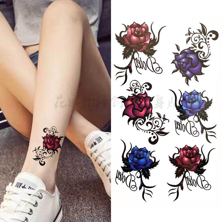 新款韩国性感唯美红蓝玫瑰花朵 防水持久逼真纹身贴脚踝手臂贴花