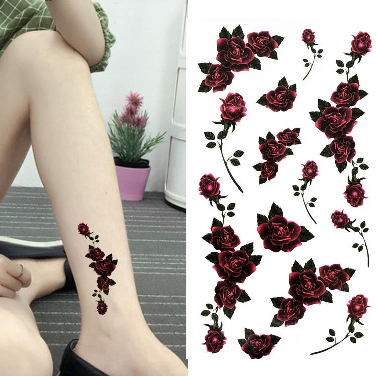 花城物语新款红色玫瑰花 女款防水持久纹身贴可爱小性感贴花