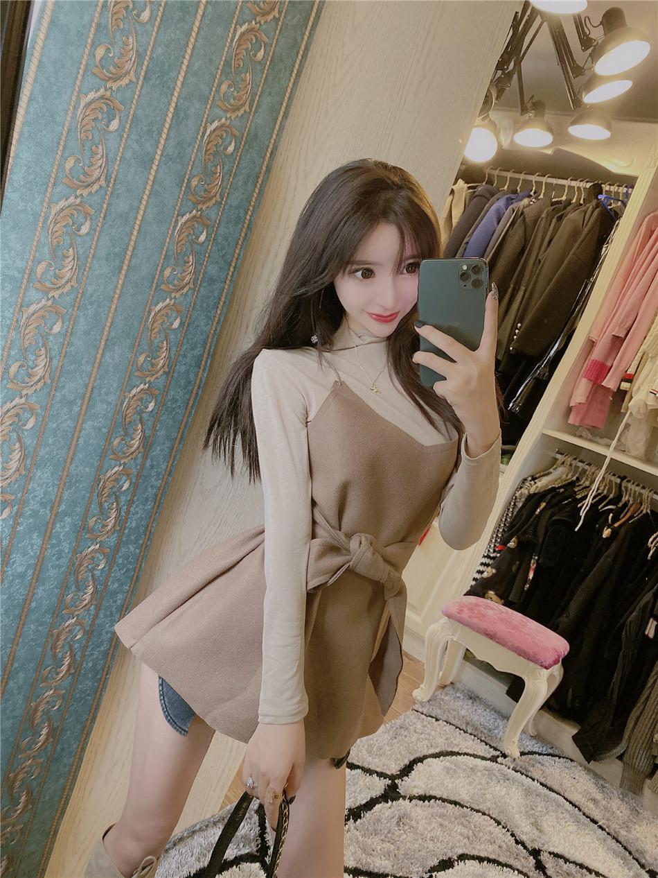 實價實拍 韓版針織半高領打底衫+毛呢吊帶背心裙兩件套女