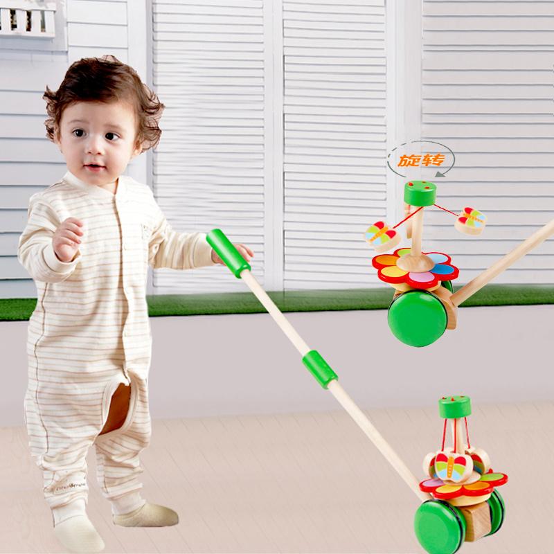 兒童單杆手推車玩具實木製蝴蝶推推樂1~2~3歲寶寶助步學步車玩具