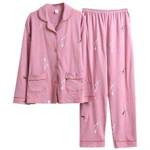 睡衣女春秋季純棉長袖中老年人媽媽秋冬款中年全棉兩件家居服套裝