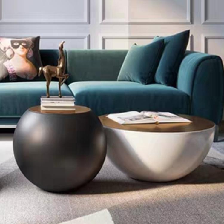网红烤漆球圆鼓形茶几简约钢化玻璃北欧创意设计师款黑白大碗茶几
