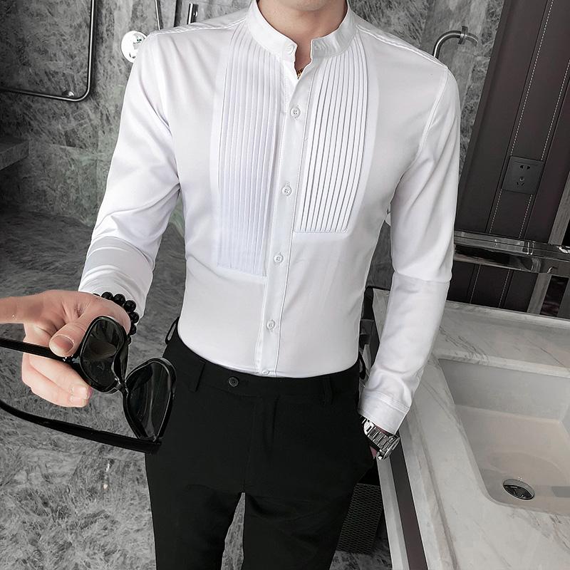 C314-D601P45/英伦酒店2020春季韩版男士长袖衬衫潮流工作服S-5XL