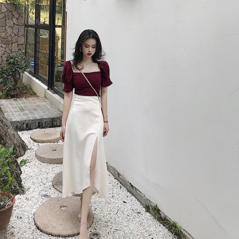 智熏裙法式桔梗裙很仙的egg裙过膝复古修身气质两件套连衣裙夏季(用10元券)