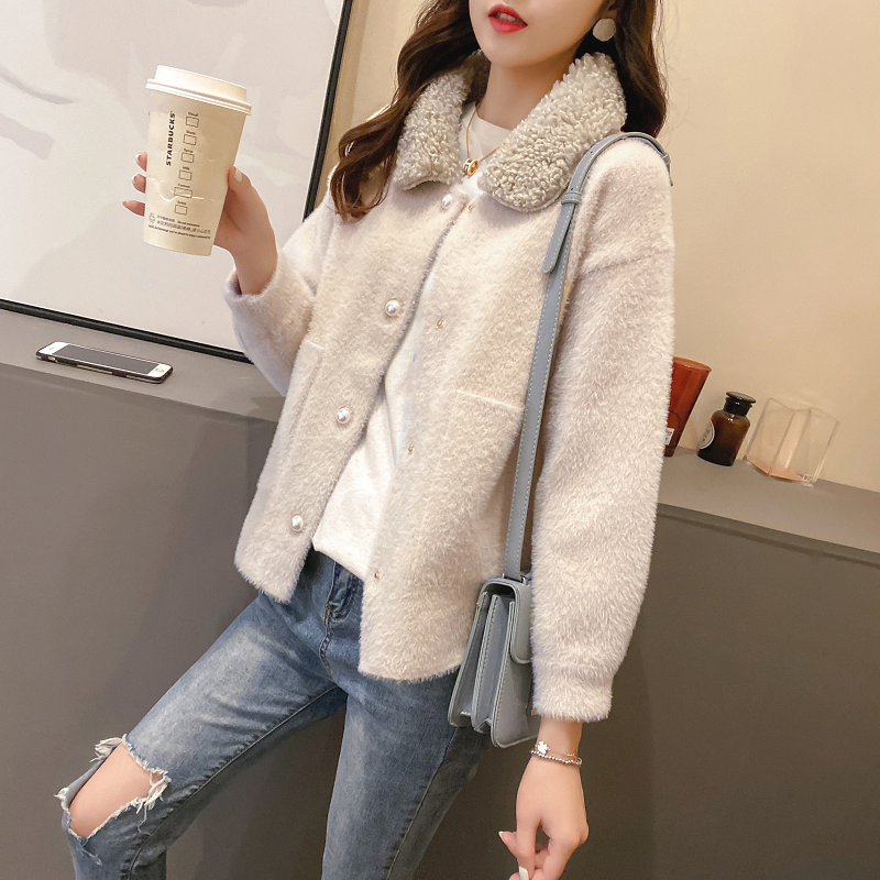 Mink like short coat womens autumn and winter 2020 new womens clothing Korean version loose and versatile womens sweater cardigan trend