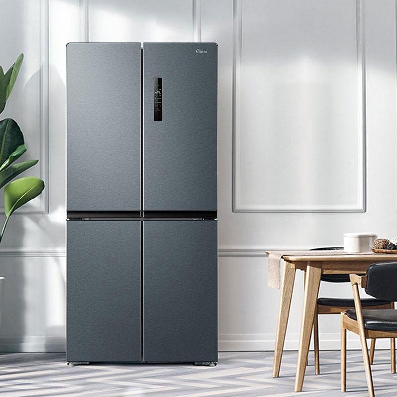 美的智能变频冰箱十字对开门四开门一级节能家用无霜超薄冷柜465L
