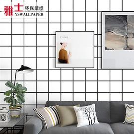 北欧格子墙纸几何线条图案图形现代简约发廊理发店电视背景墙壁纸