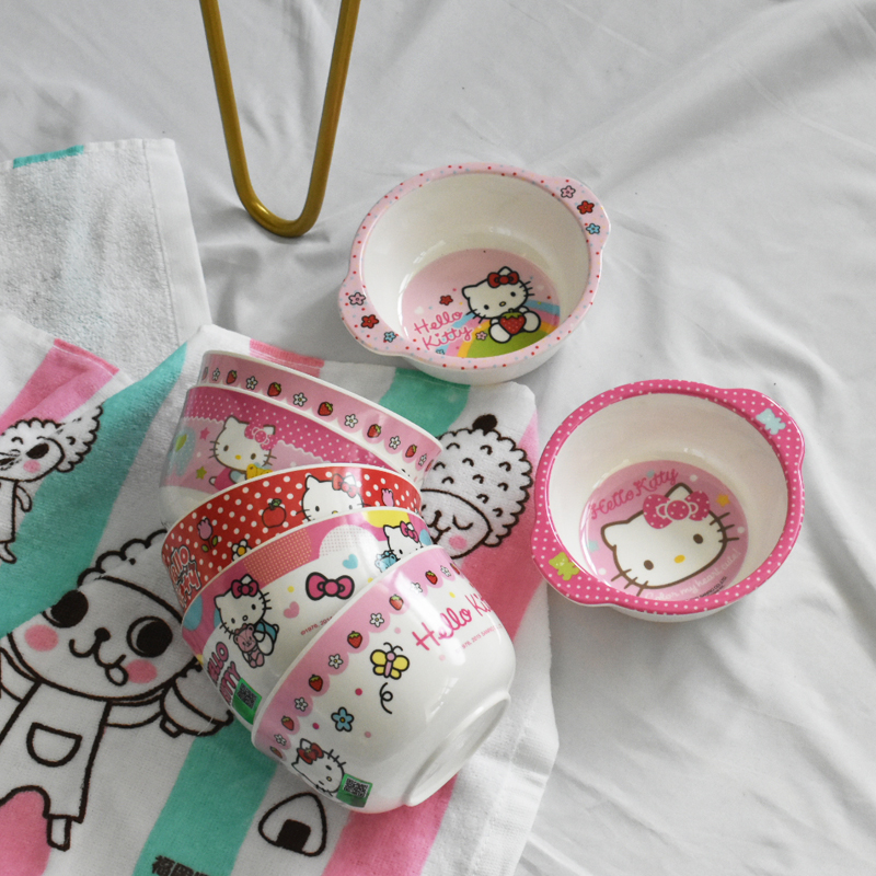 There are babies in the house to enter! Cute kitty cartoon design childrens small bowl round bowl ear bowl