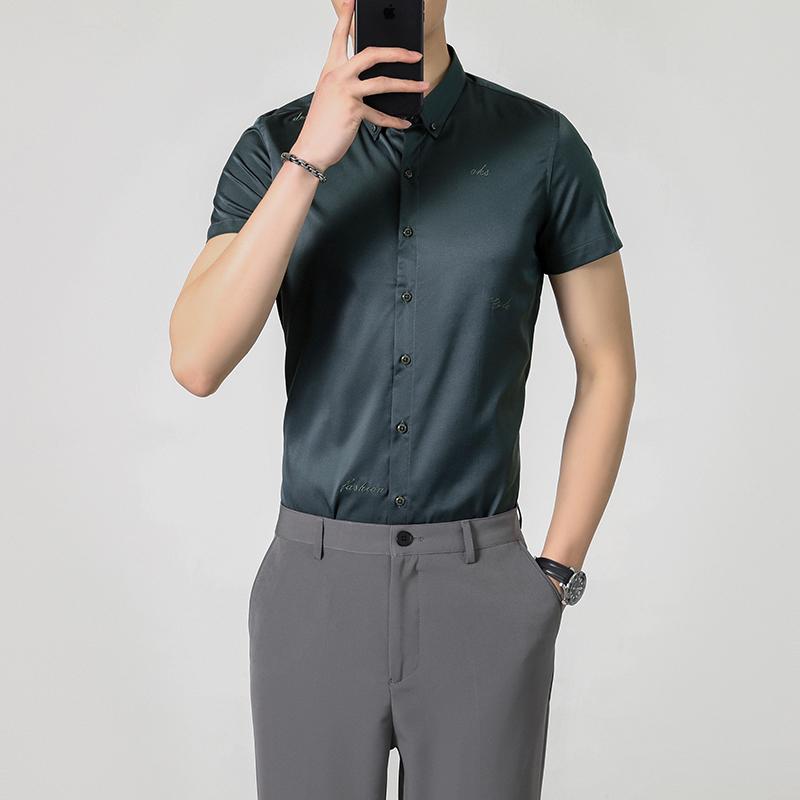 时尚2021夏季网红新款刺绣衬衣男韩版短袖衬衫修身免烫DC305-P50
