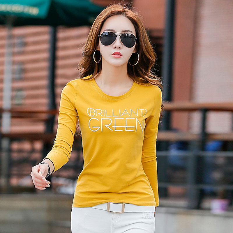 Long sleeve T-shirt womens spring 2020 new womens pure cotton top