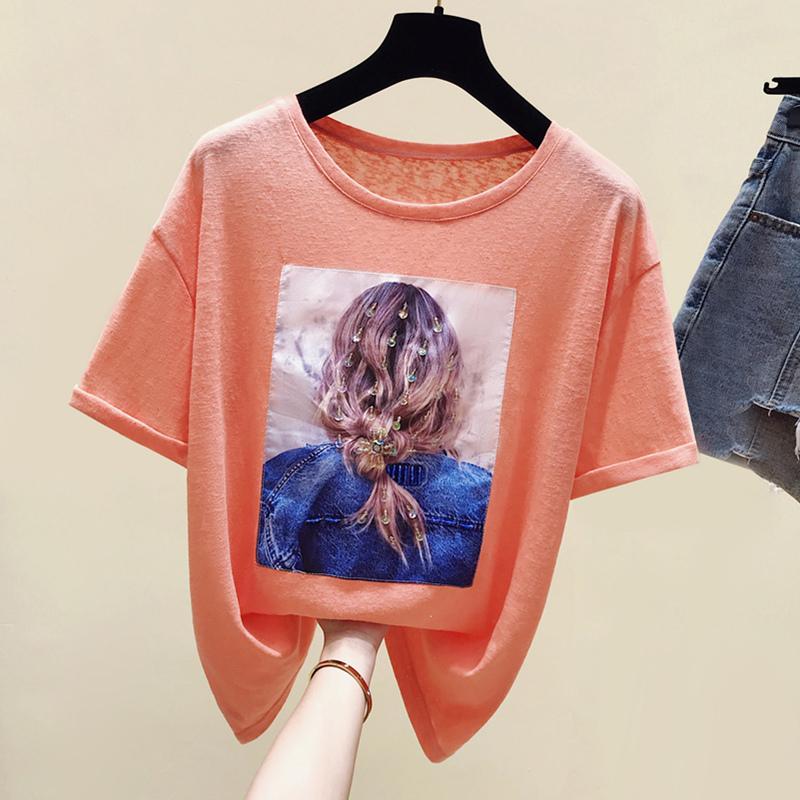 亮丝女孩背影短袖t恤夏季打底衫(用49元券)
