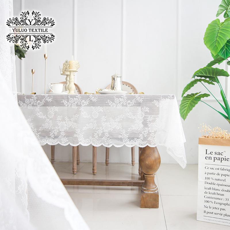 羽罗 法式蕾丝桌布长方形蕾丝盖布北欧ins白色纱网美式田园茶几布