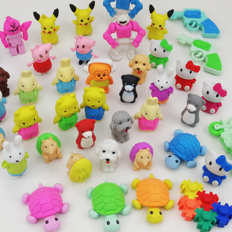 Animal eraser 3D cartoon cute a box of patterned eraser toys rubber detachable assembly